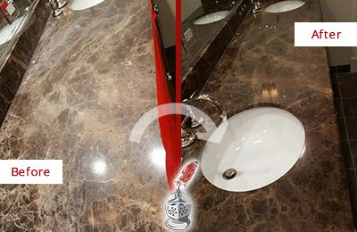 Before and After Picture of a Dull Marble Countertop Sealed for Extra Protection
