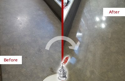 Before and After Picture of a Dull Limestone Countertop Sealed to Bring Back Its Shine
