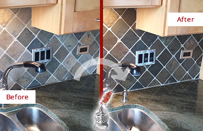 Before and After Picture of a Hibernia Backsplash Caulked to Fix and Prevent Water Leaks