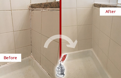 Before and After Picture of a Hibernia Shower Caulked to Repair Damaged Caulking