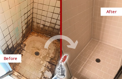 Before and After Picture of a Hibernia Shower Caulked to Fix and Prevent Water Damage