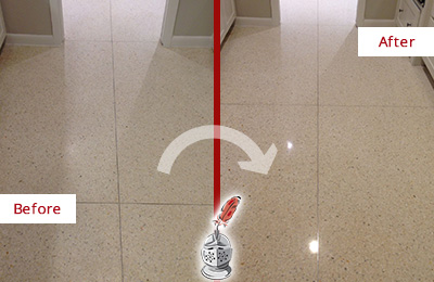 Before and After Picture of a St. Johns Granite Stone Floor Polished to Repair Dullness