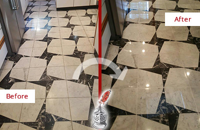 Before and After Picture of a Dull St. Johns Marble Stone Floor Polished To Recover Its Luster