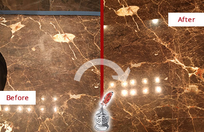 Before and After Picture of a St. Johns Marble Stone Countertop Polished to Eliminate Stains