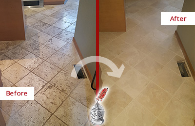 Before and After Picture of a Hilliard Kitchen Marble Floor Cleaned to Remove Embedded Dirt
