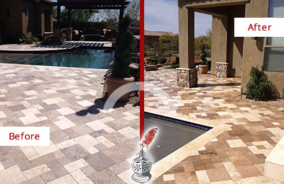 Before and After Picture of a Dull Hilliard Travertine Pool Deck Cleaned to Recover Its Original Colors