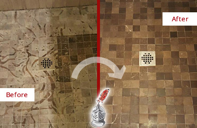 Before and After Picture of a Stained Hilliard Marble Shower Floor Cleaned to Remove Etching