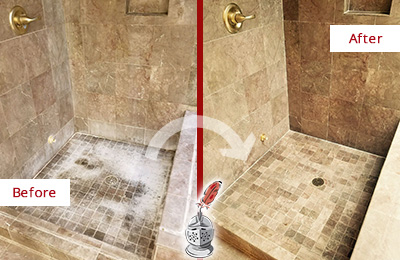 Before and After Picture of a Hilliard Travertine Shower Cleaned to Eliminate Water Spots