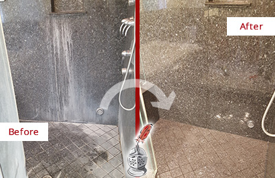 Before and After Picture of a Lakeside Granite Shower Stone Sealed to Avoid Mineral Deposits