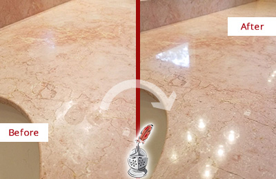 Before and After Picture of a Lakeside Marble Stone Vanity Top Sealed to Avoid Water Marks