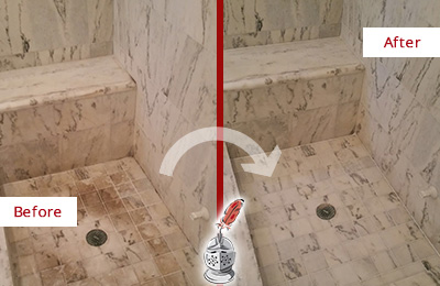 Before and After Picture of a Yulee Marble Shower Honed to Remove Dark Stains