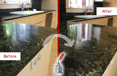 Before and After Picture of a Yulee Marble Kitchen Countertop Honed to Remove Water Marks