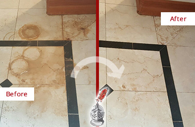 Before and After Picture of a Yulee Marble Floor Honed to Remove Rust Stains