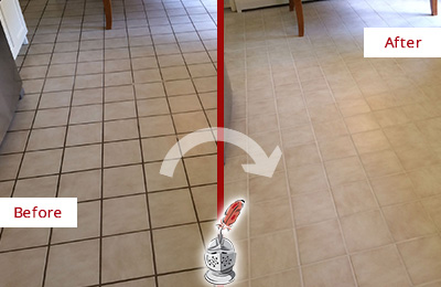 Before and After Picture of a Palencia Kitchen Tile Floor with Recolored Grout