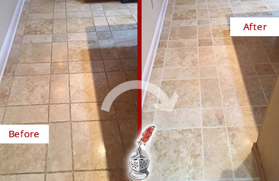 Before and After Picture of a Palencia Travertine Kitchen Floor Recolored Grout