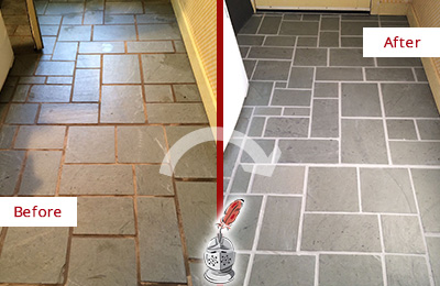 Before and After Picture of Damaged Fernandina Beach Slate Floor with Sealed Grout
