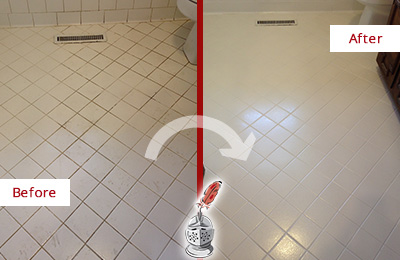 Before and After Picture of a Fernandina Beach White Bathroom Floor Grout Sealed for Extra Protection