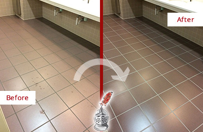 Before and After Picture of Dirty Fernandina Beach Office Restroom with Sealed Grout