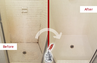 Before and After Picture of a Fernandina Beach Bathroom Grout Sealed to Remove Mold