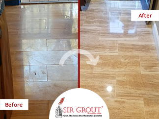 Before and After Picture of an Etched Stone Floor in Ponte Vedra, Florida