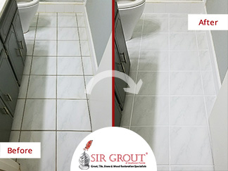 Before and After Picture of a Bathroom Grout Cleaning Service in Jacksonville, FL