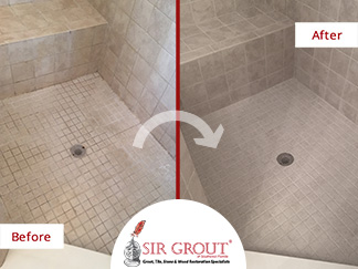 Before and After Picture of a Shower Grout Cleaning in Jacksonville Beach, FL