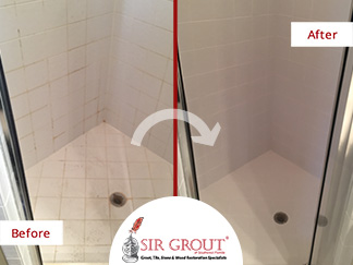 Before and After Picture of a Shower Tile and Grout Cleaning in Jacksonville, FL