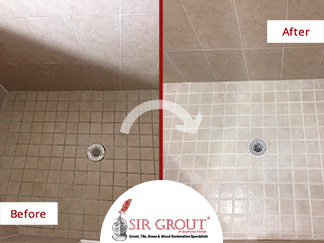 Before and After Picture of a Bathroom Grout Sealing in Jacksonville, Florida