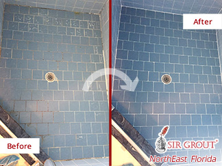 Before and After Picture of a Dirty Shower Restored with a Grout Cleaning in Jacksonville, Florida