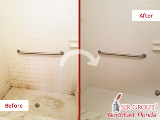 Before and after Picture of a Master Shower in Orange Park, Florida, after a Grout Cleaning Service
