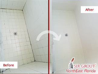Before and after Picture of This Shower after a Grout Cleaning Service in Orange Park, Fl