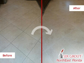 Before and after Picture of a Grout Sealing Service in Fleming Island, Florida