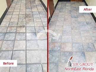 Before and after picture of a grout sealing job in Jacksonville, FL