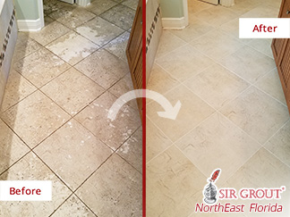 Before and after Picture of a Tile and Grout Cleaning Job in ST. Johns, FL