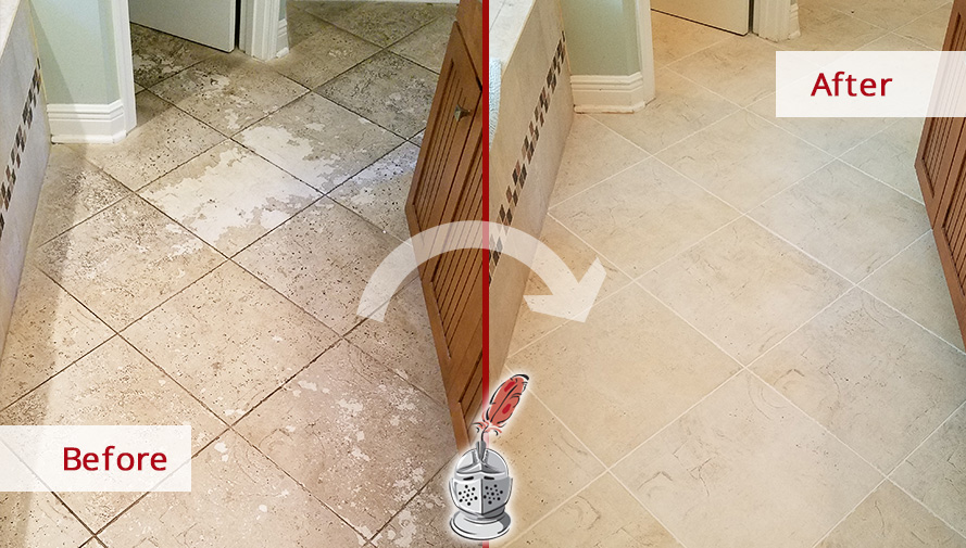 Before and after Picture of This Floor after a Tile and Grout Cleaning Service in ST. Johns, FL