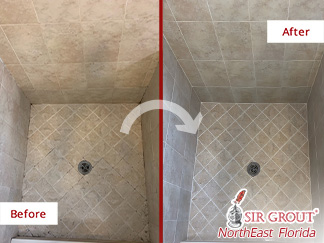 Before and After Picture of a Grout Cleaning Job in Jacksonville, FL