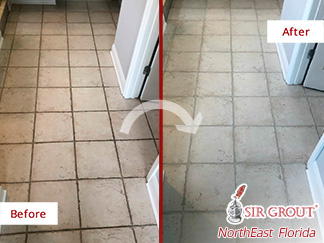Picture of a Tile Floor Before and After a Grout Cleaning Service in Jacksonville, FL
