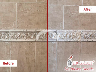 Picture of a Tile Wall Before and After a Grout Sealing Service in St Augustine, FL