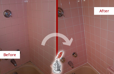 Picture of a Pink Tub and Shower with Moldy Caulking Before and After a Tub Recaulking