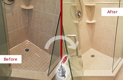 Before and After Picture of a Grout Caulking on a Porcelain Tile Shower