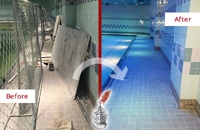 Before and After Picture of a Gym Tile Pool Deck Cleaned and Sealed to Repair Damage
