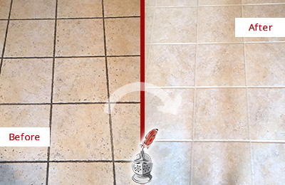 Before and After Picture of Tile Floor with Dirty Groutlines