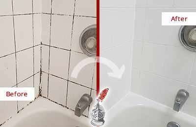 Before and After Picture of a Amelia City Shower Tile and Grout Cleaned to Eliminate Mold