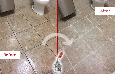 Before and After Picture of a Amelia City Restroom Tile and Grout Cleaned to Remove Soil