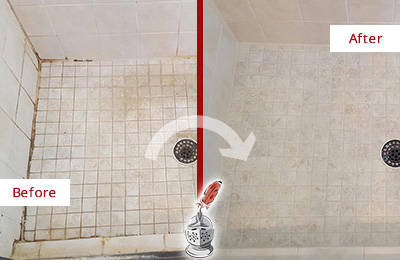 Before and After Picture of a St. Johns Shower Caulked to Fix Cracks