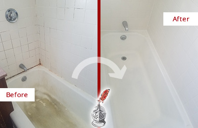 Before and After Picture of a St. Johns Bathtub Caulked to Repair Cracks