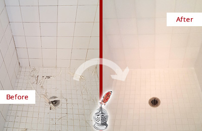 Before and After Picture of a St. Augustine Beach Bathroom Re-Caulked To Repair Damaged Caulking