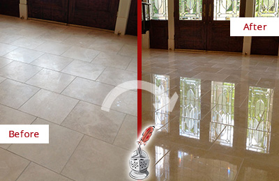 Before and After Picture of a Dull Ponte Vedra Beach Travertine Stone Floor Polished to Recover Its Gloss