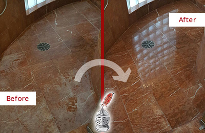 Before and After Picture of a Hilliard Marble Stone Shower Polished to Eliminate Mineral Deposits