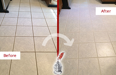 Before and After Picture of a Hastings Kitchen Ceramic Floor Sealed to Protect From Dirt and Spills
